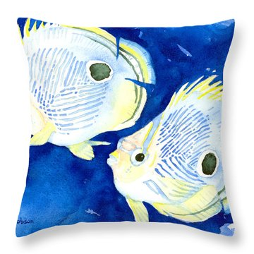 Foureye Butterflyfish Throw Pillow
