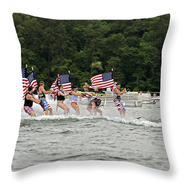Fourth Of July On The Lake Throw Pillow by Susan Leggett