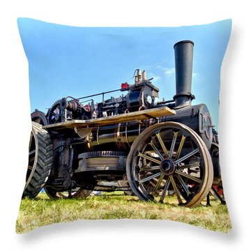 Fowler Ploughing Engine Throw Pillow