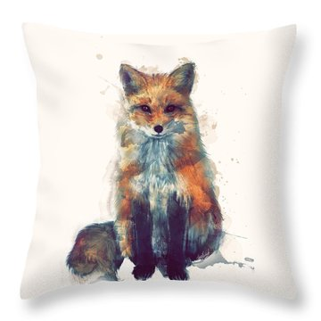 Fox Throw Pillow by Amy Hamilton