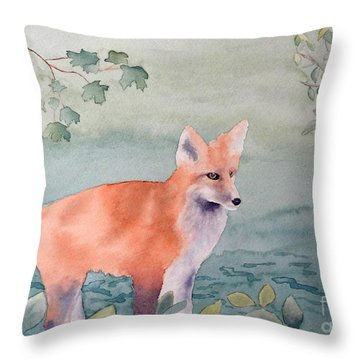 Fox And Birch Throw Pillow