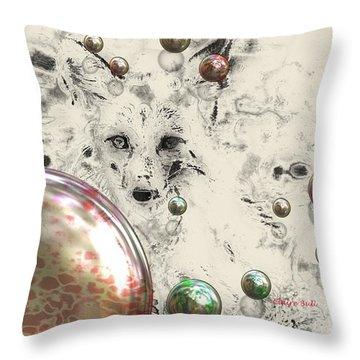 Fox Bubbles  Throw Pillow