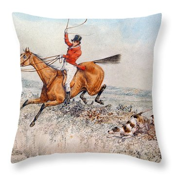 Fox Hunting Throw Pillow by Henry Thomas Alken