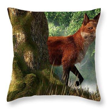 Fox In A Forest Throw Pillow by Daniel Eskridge