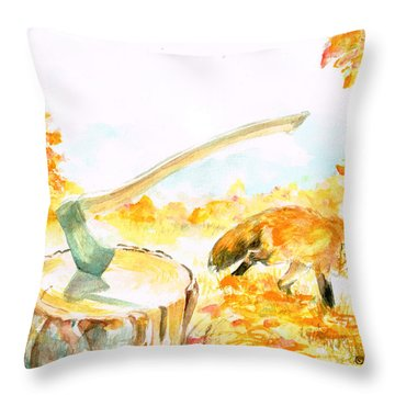 Throw Pillow featuring the painting Fox In Autumn by Andrew Gillette