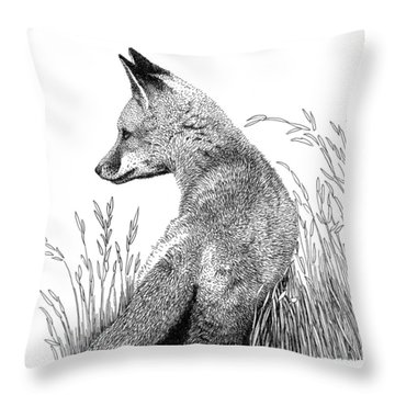 Fox In Grass Throw Pillow