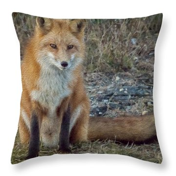 Fox In Oil Throw Pillow