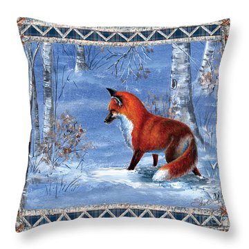 Fox In The Birch Woods Throw Pillow