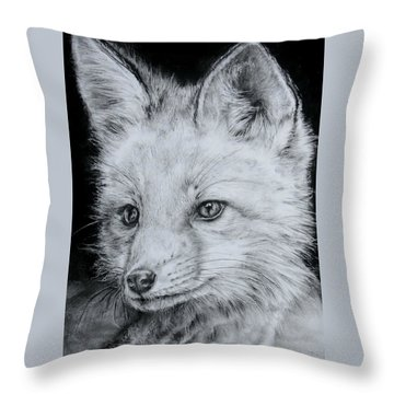 Fox Kit Throw Pillow by Jean Cormier