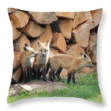 Fox Kits Throw Pillow