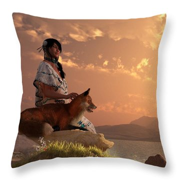Fox Maiden Throw Pillow by Daniel Eskridge