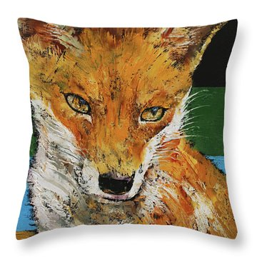 Red Fox Throw Pillow by Michael Creese