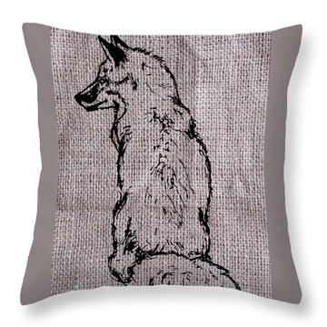 Fox On Burlap  Throw Pillow