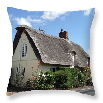 Fox On The Roof Throw Pillow by Richard Reeve