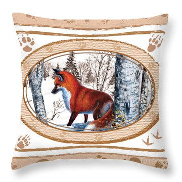 Fox On The Trail Throw Pillow