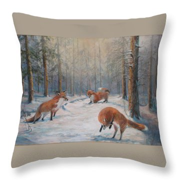 Forest Games Throw Pillow by Donna Tucker