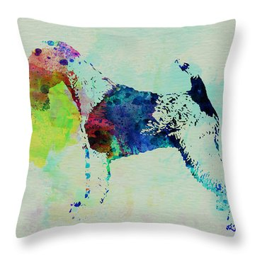 Fox Terrier Watercolor Throw Pillow by Naxart Studio