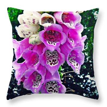 Foxglove Throw Pillow by Sarah Loft