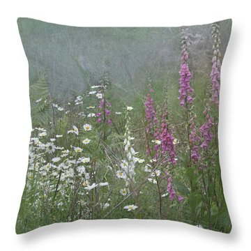 Foxgloves And Daisies Throw Pillow by Angie Vogel