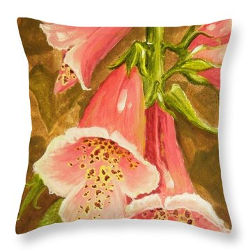 Foxy Foxglove Of Williamsburg Throw Pillow