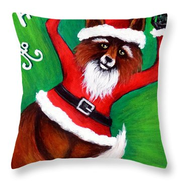 Foxy Santa Throw Pillow