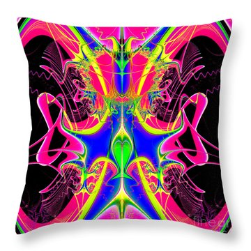Fractal 15 Color Cacophony  Throw Pillow by Rose Santuci-Sofranko