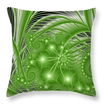 Fractal Abstract Green Nature Throw Pillow