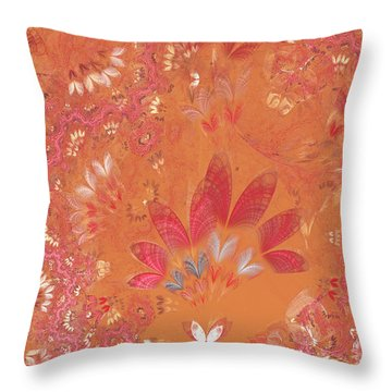 Fractal - Abstract - Japanese Motif Throw Pillow by Mike Savad