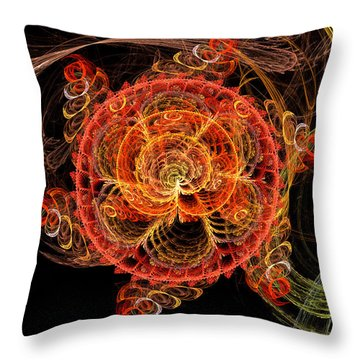 Fractal - Abstract - Mardi Gras Molecule Throw Pillow by Mike Savad
