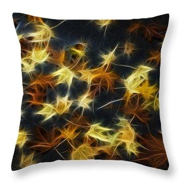 Fractal Autumn Leaves Yellow Orange And Brown Throw Pillow by Matthias Hauser
