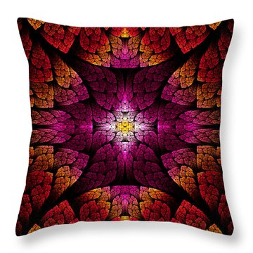 Fractal - Aztec - The All Seeing Eye Throw Pillow by Mike Savad