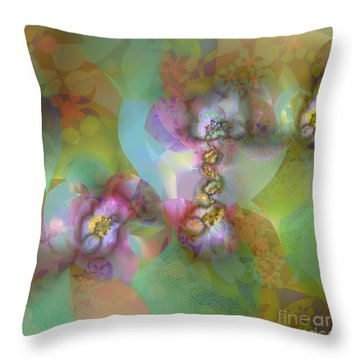 Throw Pillow featuring the digital art Fractal Blossoms by Ursula Freer