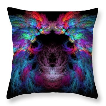 Fractal - Christ - Angels Wings Throw Pillow by Mike Savad