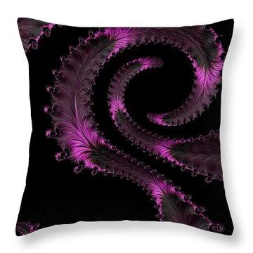 Fractal Curls Throw Pillow by Ann Garrett