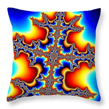 Fractal Electric Throw Pillow by Ian Mitchell
