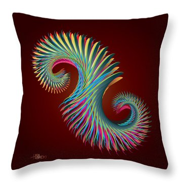Fractal Feather Spiral Throw Pillow by Hakon Soreide