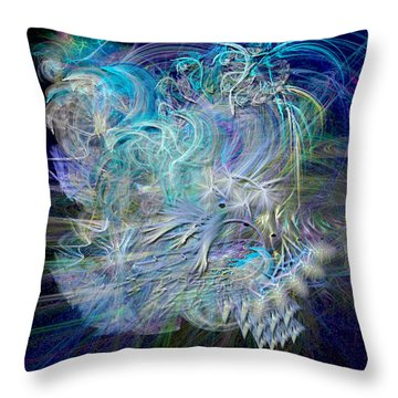 Fractal Feathers Blue Throw Pillow