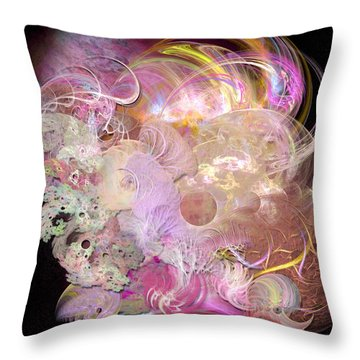 Fractal Feathers Pink Throw Pillow