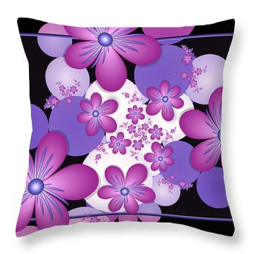 Fractal Flowers Modern Art Throw Pillow