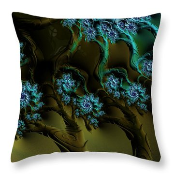 Fractal Forest Throw Pillow by GJ Blackman