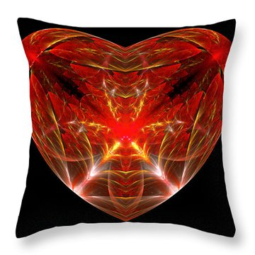 Fractal - Heart - Open Heart Throw Pillow by Mike Savad