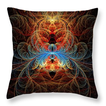 Fractal - Insect - Black Widow Throw Pillow by Mike Savad
