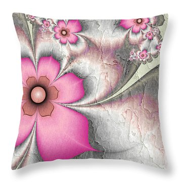 Fractal Nostalgic Flowers 2 Throw Pillow