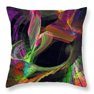 Fractal - Owl Swooping Throw Pillow by Susan Savad