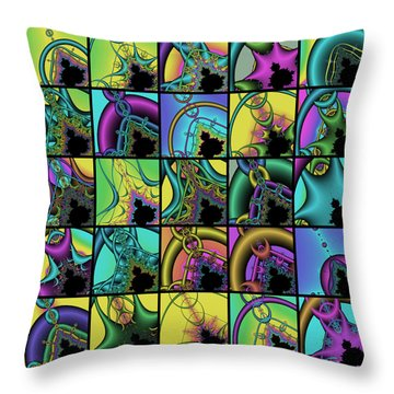 Fractal Quilt 1 Throw Pillow
