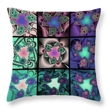 Fractal Quilt 9  Throw Pillow