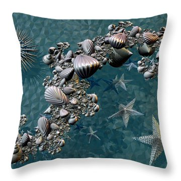 Throw Pillow featuring the digital art Fractal Sea Life by Manny Lorenzo