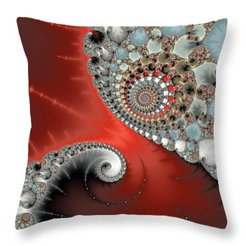 Fractal Spiral Art Red Grey And Light Blue Throw Pillow