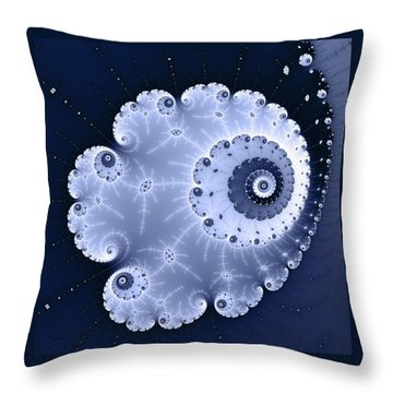 Fractal Spiral Light And Dark Blue Colors Throw Pillow