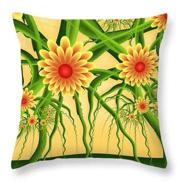 Fractal Summer Pleasures Throw Pillow